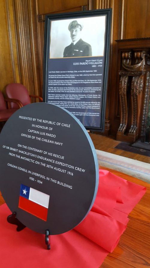 Luis Pardo commemorative plaque presented by the Chilean ambassador to the UK and the Chilean Navy